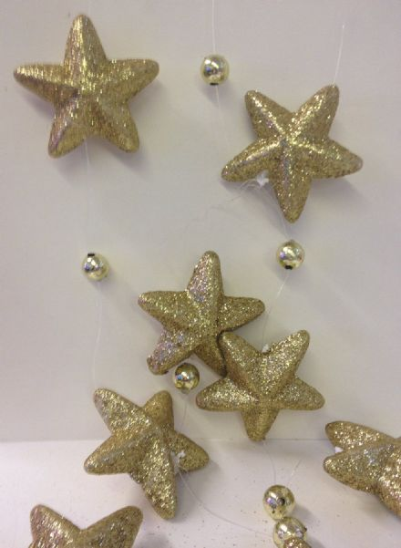 Gold Glitter 3D Star Hanging Christmas Garland